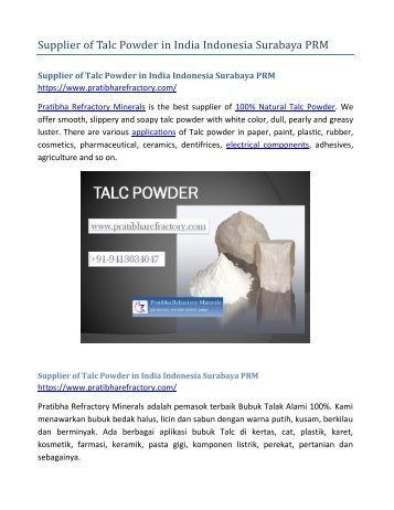 Supplier of Talc Powder in India Indonesia Surabaya PRM