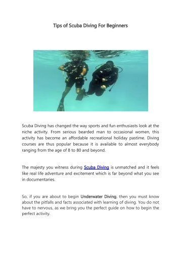 Tips of Scuba Diving For Beginners