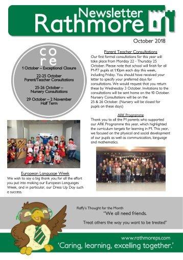 OCTOBER Newsletter 2018