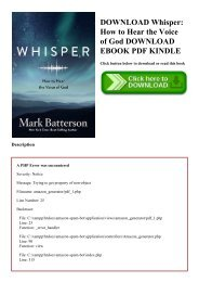 DOWNLOAD Whisper How to Hear the Voice of God DOWNLOAD EBOOK PDF KINDLE