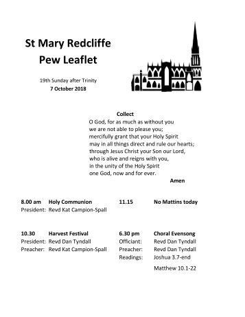 St Mary Redcliffe Church Pew Leaflet - October 7 2018
