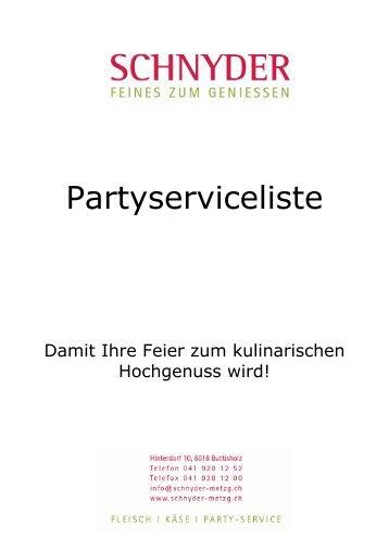 Partyserviceliste - Schnyder Metzg