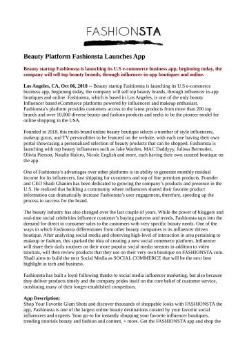 Beauty Platform Fashionsta Launches App