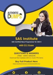A00-211 Dumps - [2018] Learn How to Pass with Valid SAS Institute A00-211 Exam Questions PDF