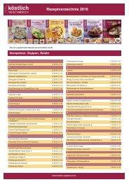 Werbeformen und Preise für 2012 Rezeptverzeichnis 2010