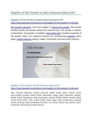 Supplier of Talc Powder in India Indonesia Jakarta SVI