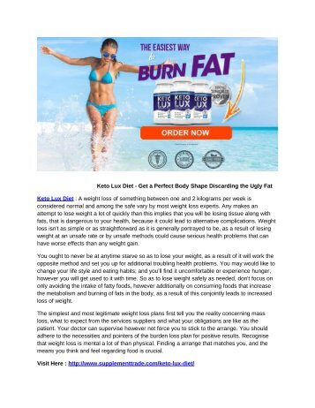 Keto Lux Diet - Get a Perfect Body Shape Discarding the Ugly Fat