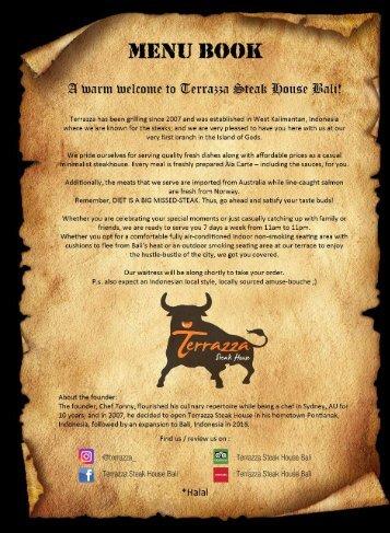 Terrazza Steak House Bali Menu Book