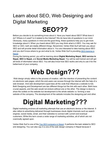 Learn about SEO, Web Designing and Digital Marketing