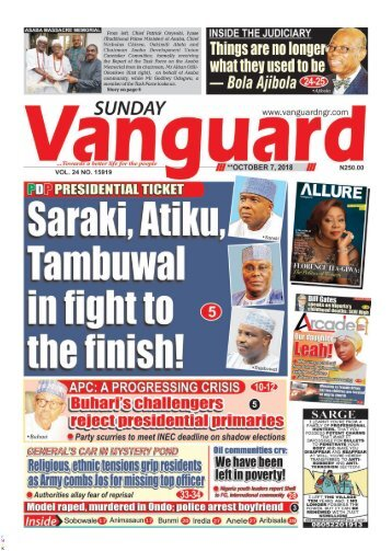07102018 - PRESIDENTIAL TICKET: Saraki, Atiku, Tambuwal in fight to the finish