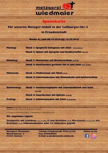 Speisekarte Loßburgerstr.  Kw 41