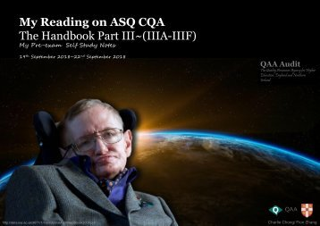 My Reading on ASQ CQA HB Part III