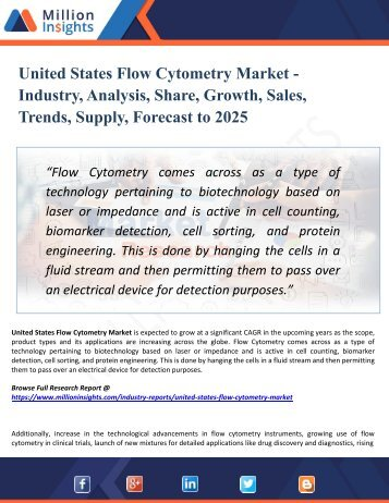 United States Flow Cytometry Market Segmented by Material, Type, End-User Industry and Geography – Trends and Forecasts 2025