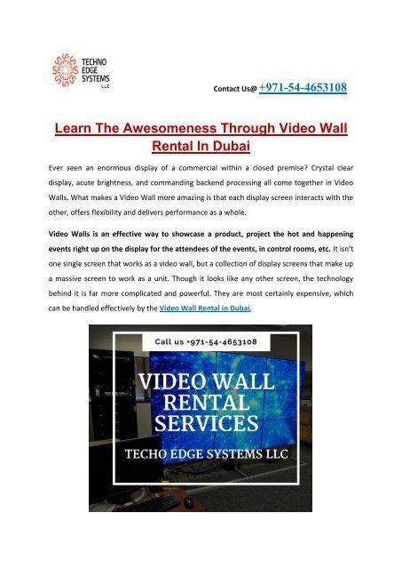 VideoWall Rental Dubai