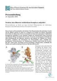 Pressemitteilung - Max-Planck-Institut für molekulare Genetik
