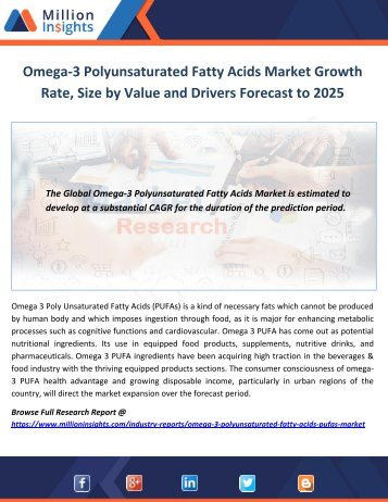 Omega-3 Polyunsaturated Fatty Acids Market Drivers Forecast to 2025