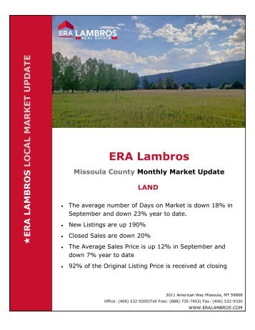 Missoula Land Update - September 2018