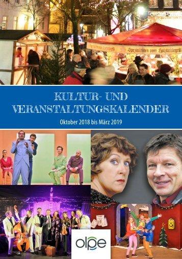 Kulturprogramm der Kreisstadt Olpe - Oktober 2018 bis März 2019