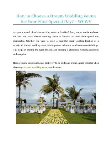 How to Choose a Dream Wedding Venue for Your Most Special Day? - WCWV