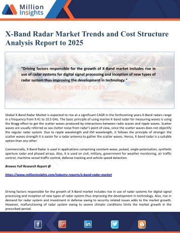 X-Band Radar Market Trends and Cost Structure Analysis Report to 2025