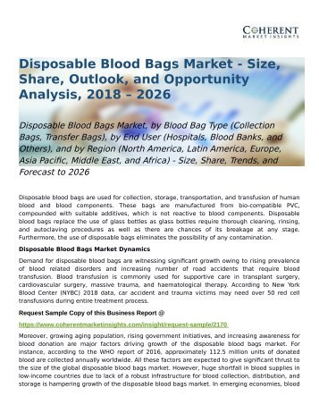 Disposable Blood Bags Market Trends, and Forecast to 2026