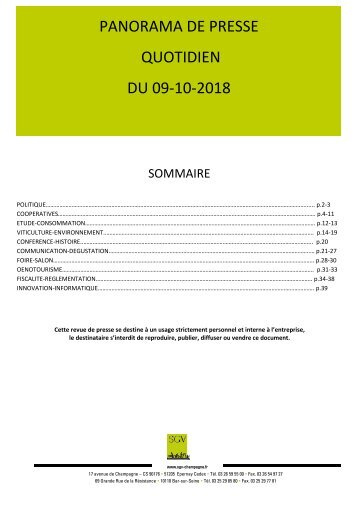 Panorama de presse quotidien du 09-10-2018