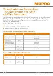 MÜPRO Verwendbarkeit von Bauprodukten für Abschottungen und Fugen mit ETA in DE