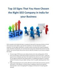 Top 10 Signs That You Have Chosen the Right SEO Company in India for your Business