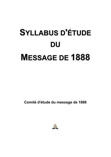 Syllabus d'étude du Message de 1888 - Comité d'étude du message de 1888