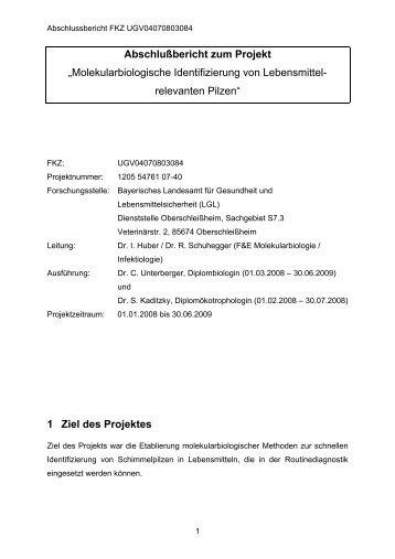 "Abschlußbericht zum Projekt ""Molekularbiologische ... - UOK"