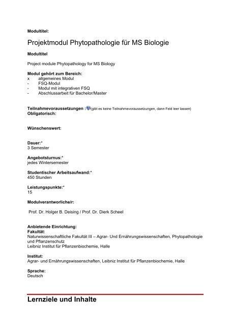 Modulleistungen - Fachbereich Biologie der Uni Halle-Wittenberg
