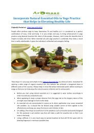 Incorporate Natural Essential Oils to Yoga Practice that Helps in Elevating Healthy Life