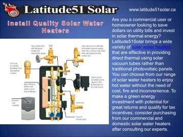 Install Quality Solar Water Heaters