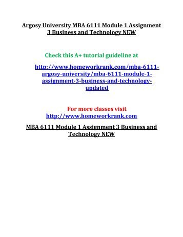 Argosy University MBA 6111 Module 1 Assignment 3 Business and Technology NEW