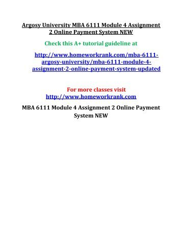 Argosy University MBA 6111 Module 4 Assignment 2 Online Payment System NEW