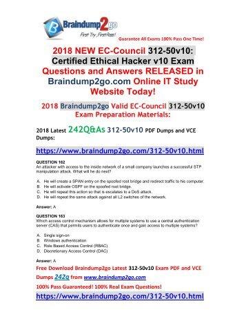 (2018-October-Version)New Braindump2go 312-50v10 Dumps PDF 242Q Free Updated(162-172)
