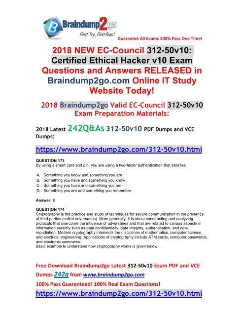 2018-October-Version)New Braindump2go 312-50v10 PDF and 312