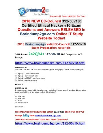 (2018-October-Version)New Braindump2go 312-50v10 Dumps VCE 242Q Free Updated(151-161)