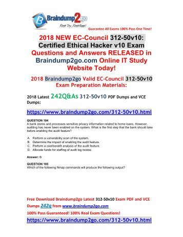 (2018-October-Version)New Braindump2go 312-50v10 VCE and 312-50v10 PDF Dumps 242Q Free Updated(184-200)