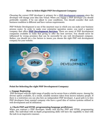 How to Select Right PHP Development Company