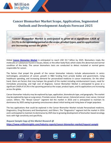 Cancer Biomarker Market Scope, Application, Segmented Outlook and Development Analysis Forecast 2025