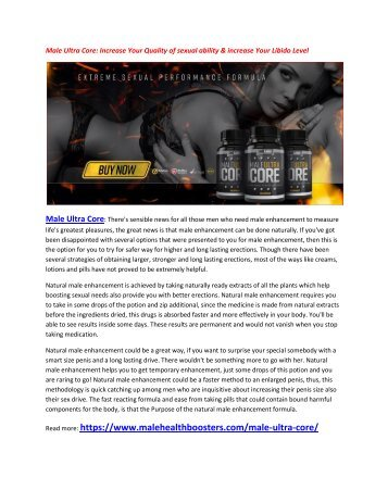 Male Ultra Core: Increase Your Sexual gratification and make you more energetic