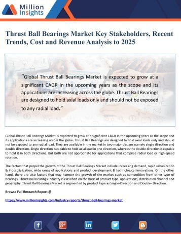 Thrust Ball Bearings Market Key Stakeholders, Recent Trends, Cost and Revenue Analysis to 2025