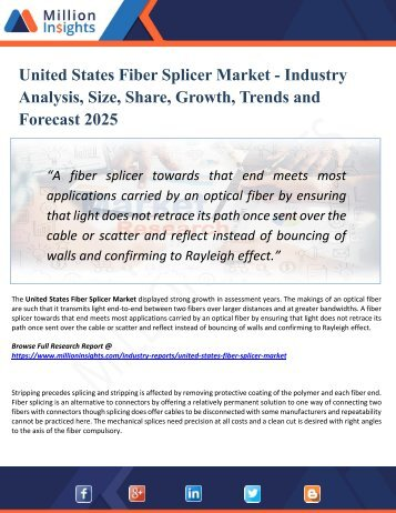 United States Fiber Splicer Market Analysis, Manufacturing Cost Structure, Growth Opportunities and Restraint 2025
