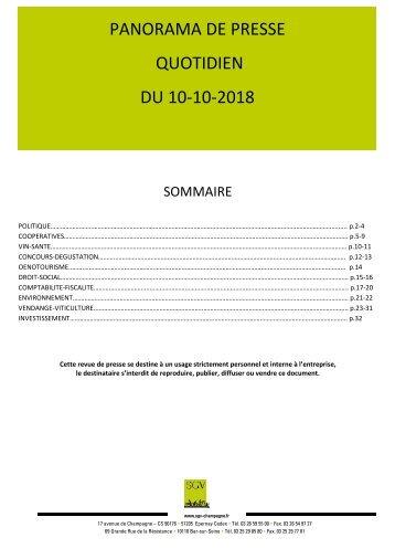 Panorama de presse quotidien du 10-10-2018