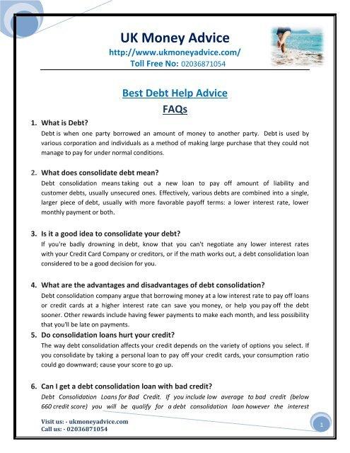 Best Debt Help Advice