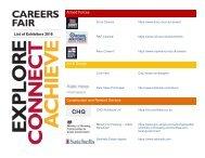 Exhibitors for KTS Careers Fair 2018