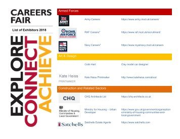 Exhibitors for KTS Careers Fair 2018