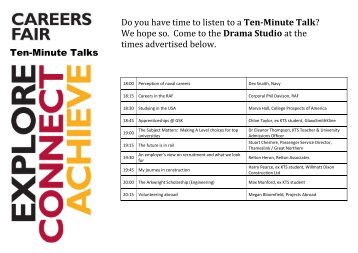 KTS Careers Fair Ten Minute Talk Program 2018
