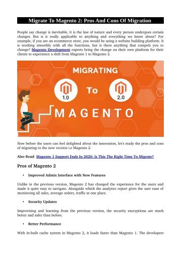 Migrate To Magento 2: Pros And Cons Of Migration